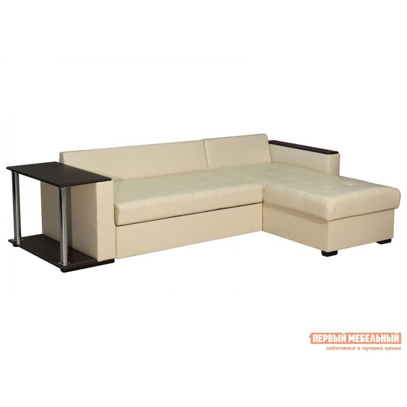 Угловой диван  Диван Атташе угловой со столиком Крем, экокожа (фото 2)