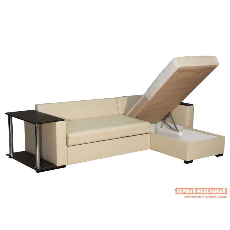 Угловой диван  Диван Атташе угловой со столиком Крем, экокожа (фото 3)