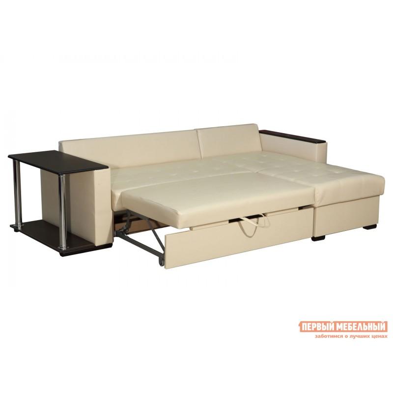 Угловой диван  Диван Атташе угловой со столиком Крем, экокожа (фото 4)