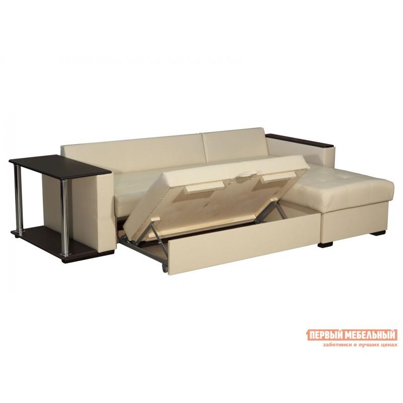 Угловой диван  Диван Атташе угловой со столиком Крем, экокожа (фото 5)