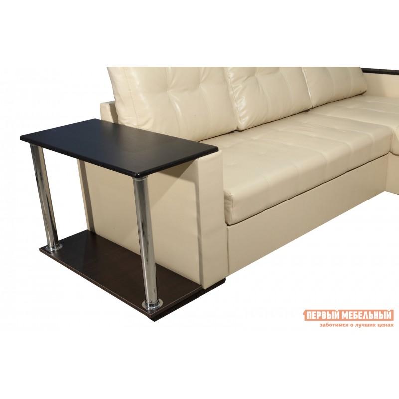 Угловой диван  Диван Атташе угловой со столиком Крем, экокожа (фото 6)