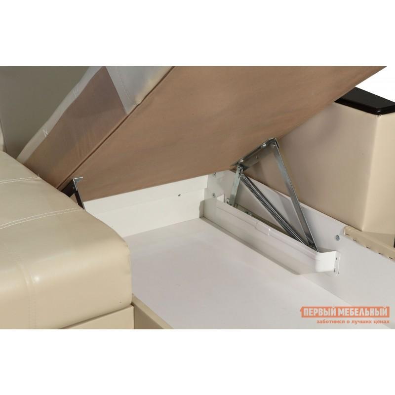 Угловой диван  Диван Атташе угловой со столиком Крем, экокожа (фото 7)