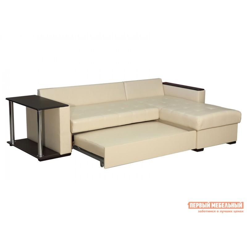 Угловой диван  Диван Атташе угловой со столиком Крем, экокожа (фото 8)