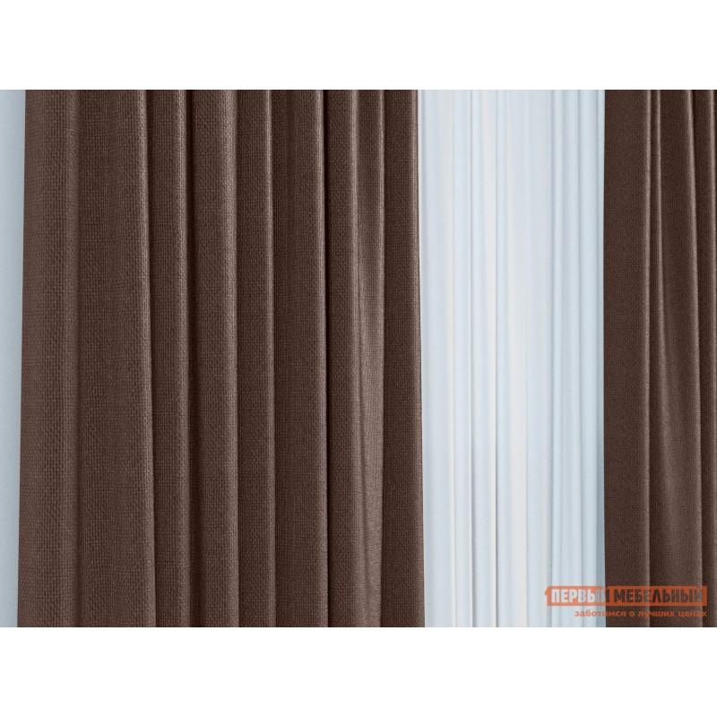 Шторы  Портьера ШП(391-10), Размер 200х270 Темно-коричневый, рогожка (фото 3)