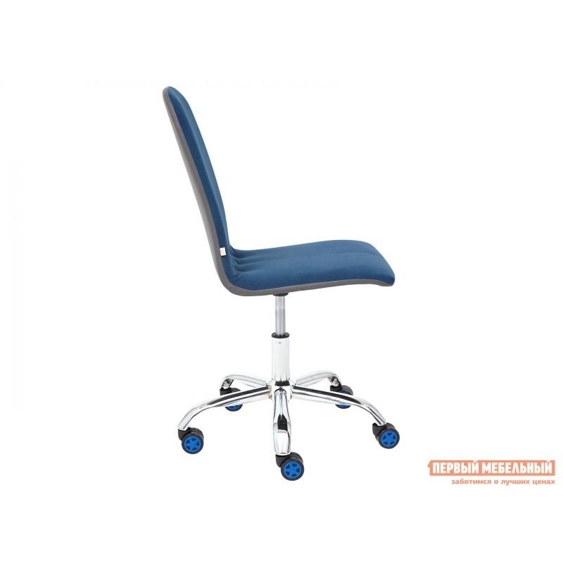 Офисное кресло  Офисное кресло RIO Синий, флок / Серый, кожзам (фото 3)