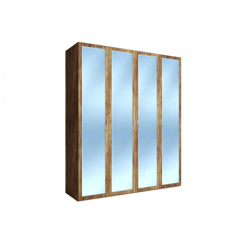Распашной шкаф  Шкаф 4-х дверный Вега Бавария Таксония медовая, С четырьмя зеркалами, Без топа-накладки