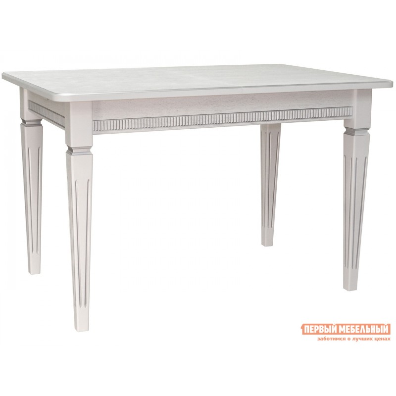 Кухонный стол  Стол обеденный Васко В 86Н раздвижной 120(170)*80 Белый / Патина серебро