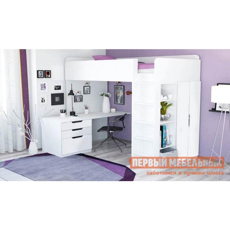 Кровать-чердак  Кровать-чердак Polini kids Simple с письменным столом и шкафом Белый