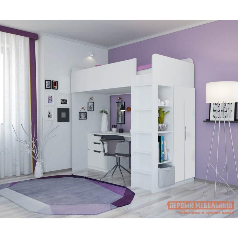 Кровать-чердак  Кровать-чердак Polini kids Simple с письменным столом и шкафом Белый (фото 2)