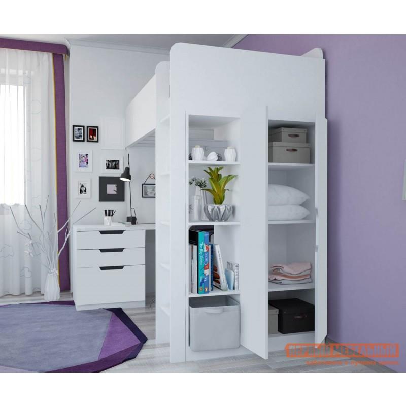 Кровать-чердак  Кровать-чердак Polini kids Simple с письменным столом и шкафом Белый (фото 3)