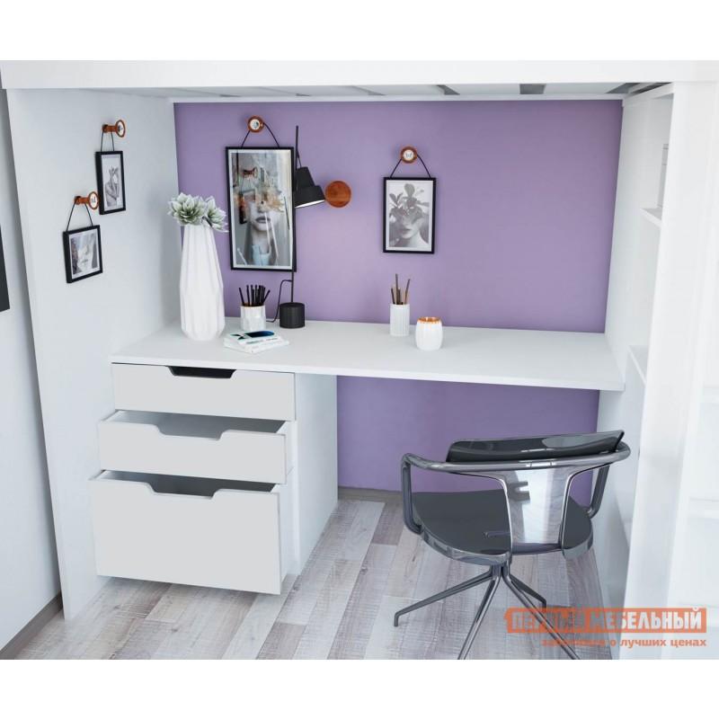Кровать-чердак  Кровать-чердак Polini kids Simple с письменным столом и шкафом Белый (фото 4)