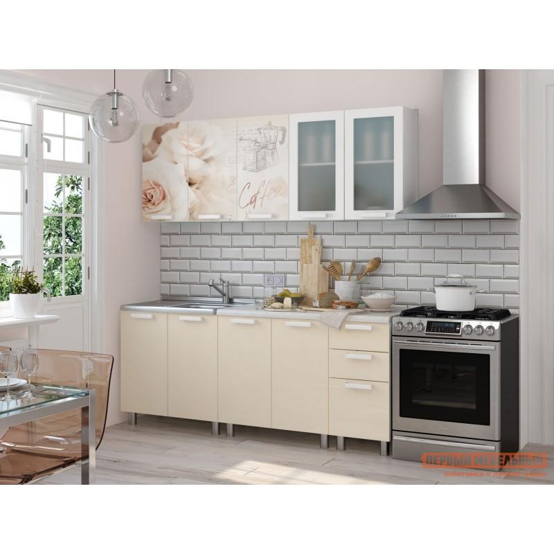 Кухонный гарнитур  Латте Латте крем / Белый глянец