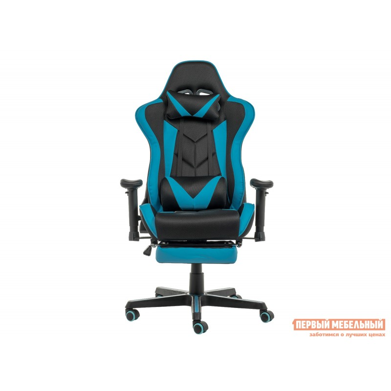 Игровое кресло  Kano Синий, иск.кожа / Черный, ткань (фото 3)