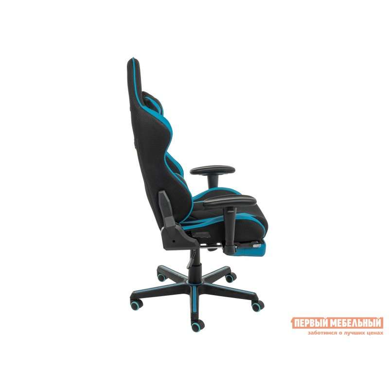 Игровое кресло  Kano Синий, иск.кожа / Черный, ткань (фото 4)