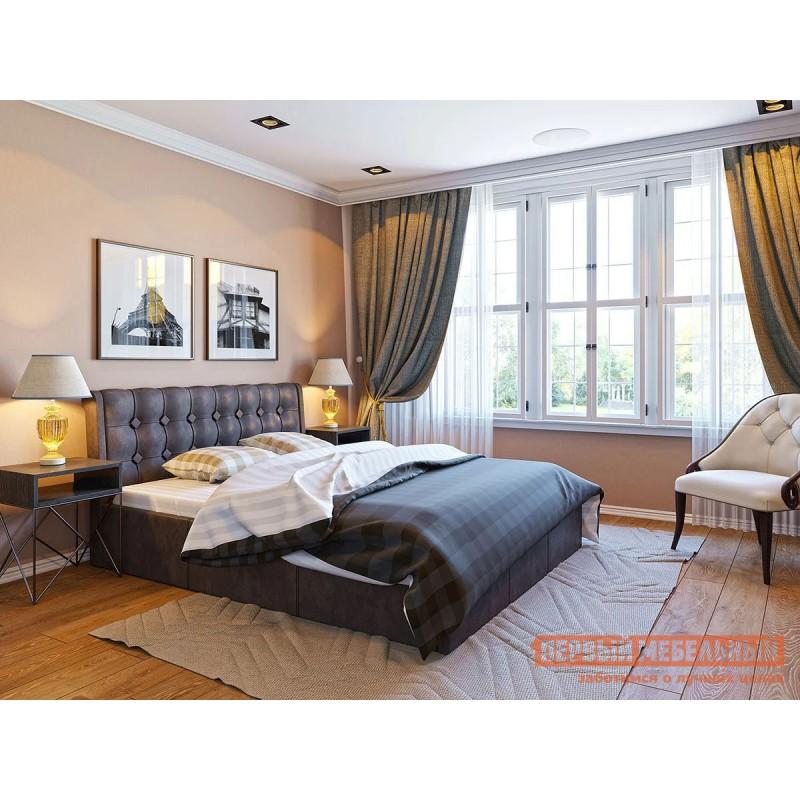 Односпальная кровать  Кровать с подъемным механизмом Эдем Коричневый, экокожа (фото 2)