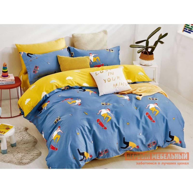Комплект постельного белья  КПБ сатин Основа Снов синий, желтый Синий / Желтый, Полутороспальный