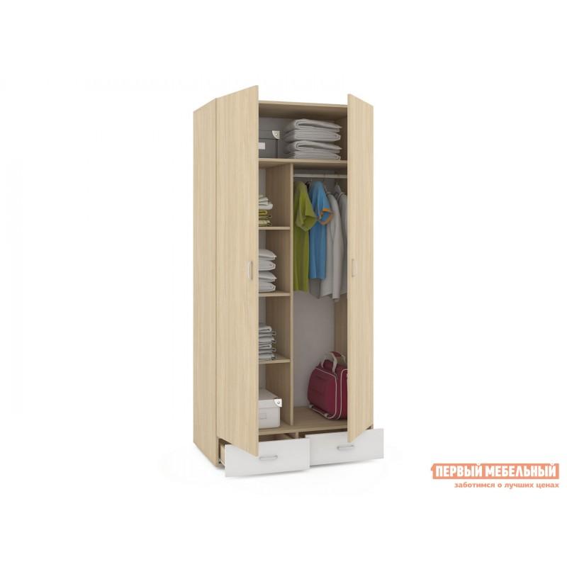 Распашной шкаф  Линда 305 Шкаф 2-х дверный Дуб Сонома / Белый (текстура дерева) (фото 2)