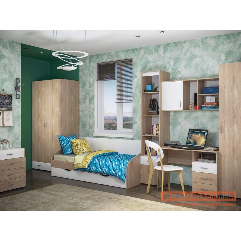 Распашной шкаф  Линда 305 Шкаф 2-х дверный Дуб Сонома / Белый (текстура дерева) (фото 3)