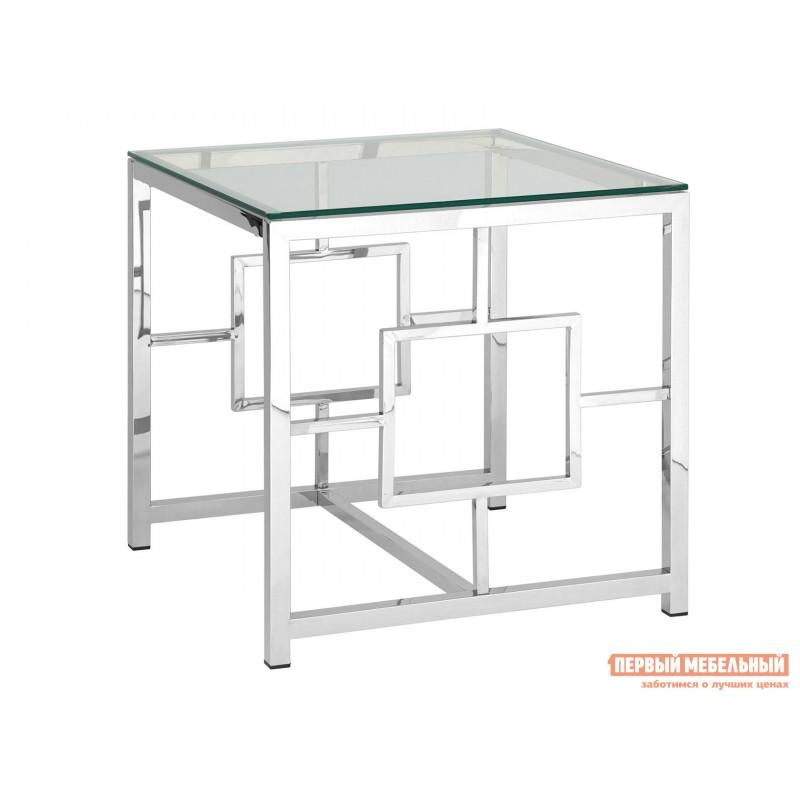 Журнальный столик  EET-013 Прозрачное стекло / Сталь, серебро