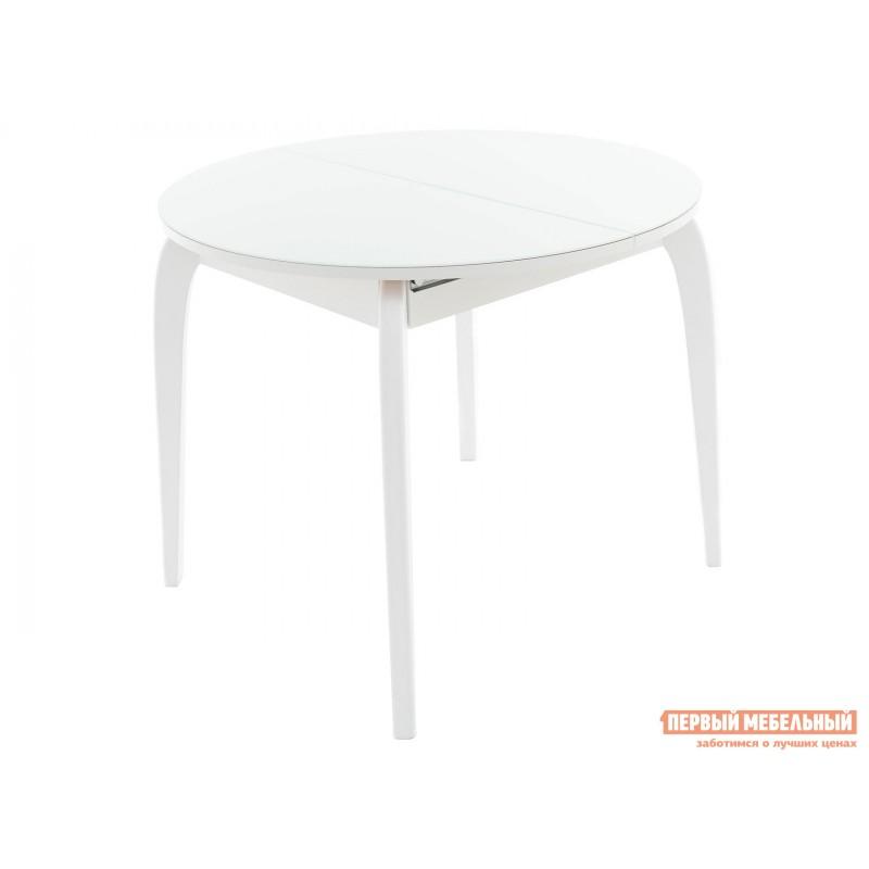 Кухонный стол  Ривьера СВ Стекло Белое / Белая МДФ