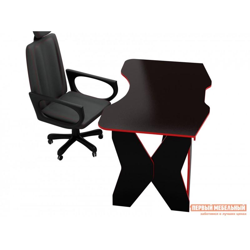 Компьютерный стол  МСТ-СИТ-01 Таунт-1 Черный с красной кромкой (фото 4)