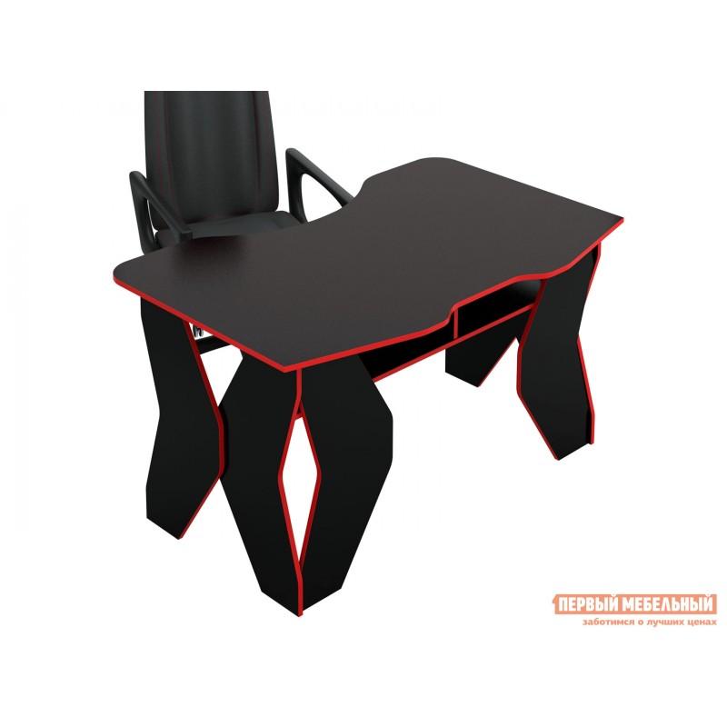 Компьютерный стол  МСТ-СИТ-01 Таунт-1 Черный с красной кромкой (фото 5)