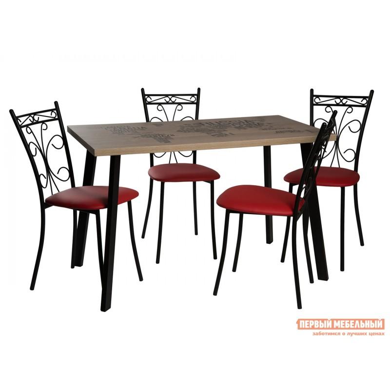 Обеденная группа для столовой и гостиной  Стол Бремор + 4 стула Неаполь ЛДСП Эврика / Карта Мира (фотопечать) / Черный матовый / Экотек красный, экокожа