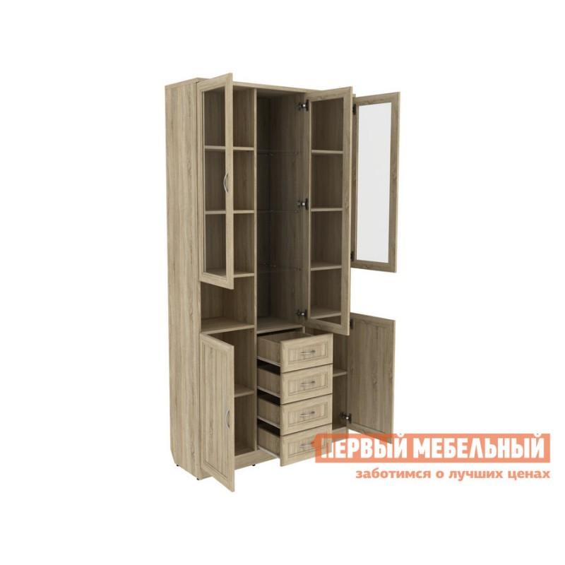Шкаф-витрина  Мерлен 210 с ящиками Дуб Сонома (фото 2)