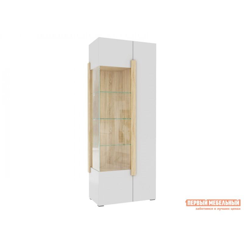 Шкаф-витрина  1701.М3 Дуб Сонома / Белый глянец, Без подсветки