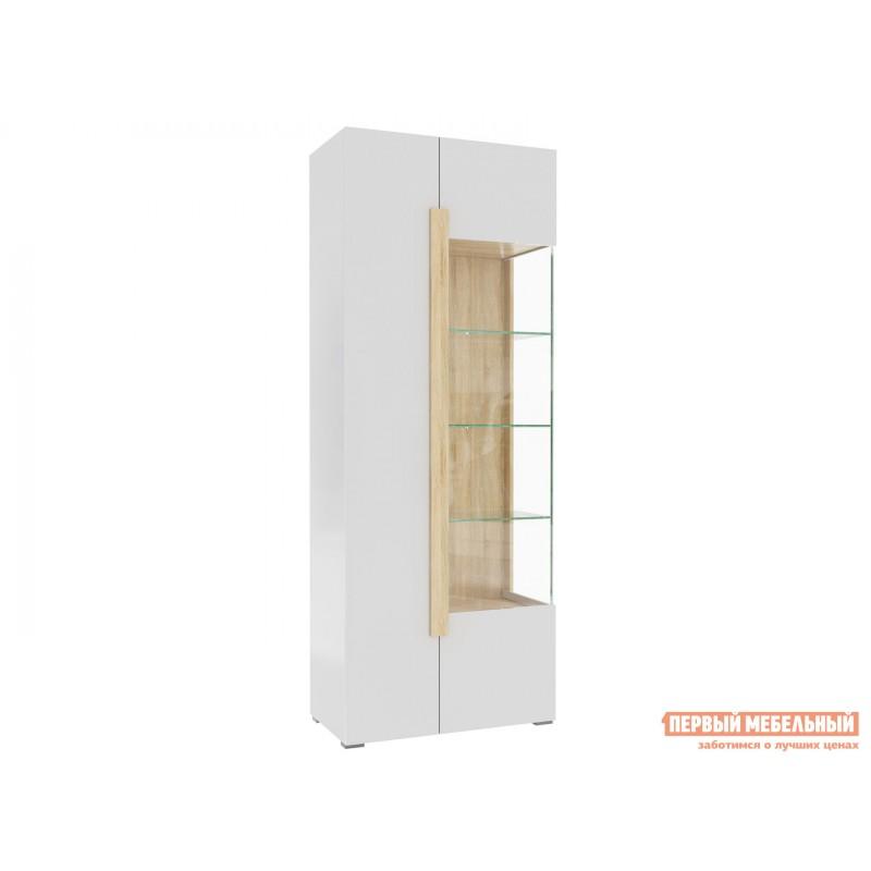 Шкаф-витрина  1701.М3 Дуб Сонома / Белый глянец, Без подсветки (фото 2)