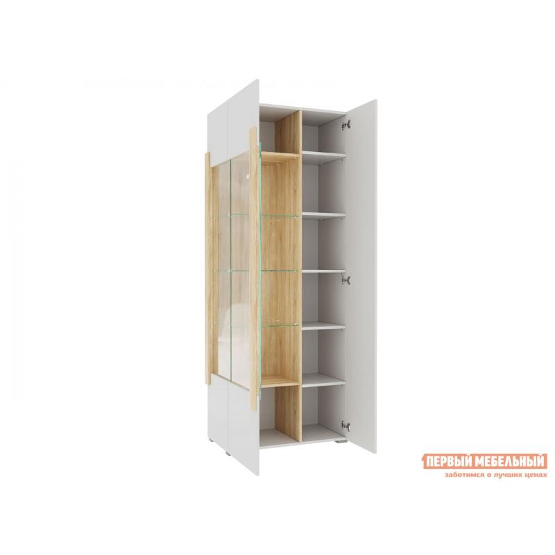 Шкаф-витрина  1701.М3 Дуб Сонома / Белый глянец, Без подсветки (фото 3)