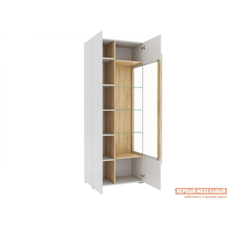 Шкаф-витрина  1701.М3 Дуб Сонома / Белый глянец, Без подсветки (фото 4)