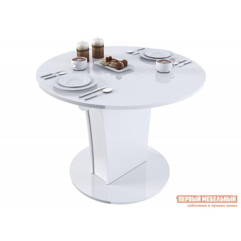 Кухонный стол  Стол обеденный Бергамо 3 NEW круглый Белый глянец