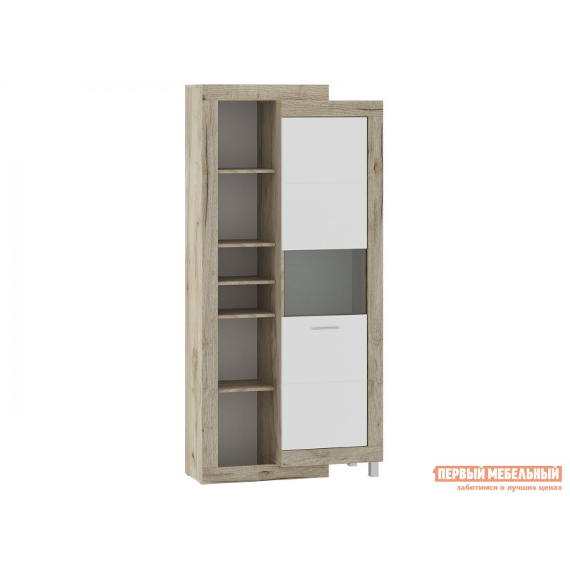 Шкаф-витрина  71280122 ГЕНЕЗИС шкаф-сервант Дуб серый Крафт / Белый глянец