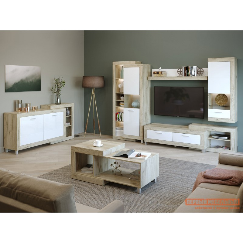 Шкаф-витрина  71280122 ГЕНЕЗИС шкаф-сервант Дуб серый Крафт / Белый глянец (фото 3)