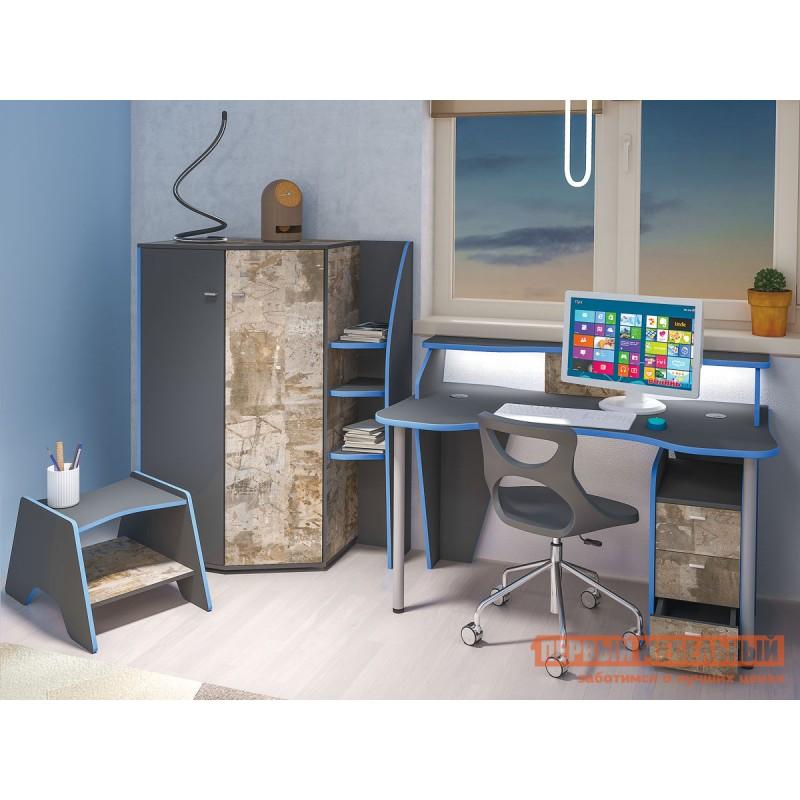 Компьютерный стол  Стол компьютерный Индиго 12.61 Тёмно-серый / Граффити, С подсветкой (фото 2)