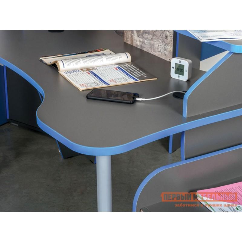 Компьютерный стол  Стол компьютерный Индиго 12.61 Тёмно-серый / Граффити, С подсветкой (фото 3)