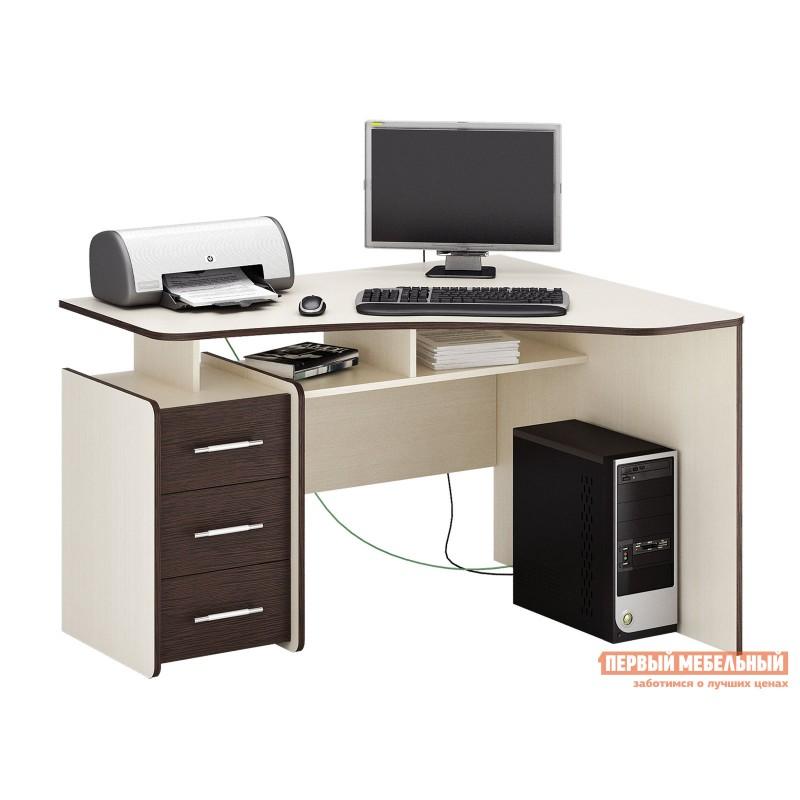 Компьютерный стол  Триан-5 Дуб Молочный / Венге, Правый
