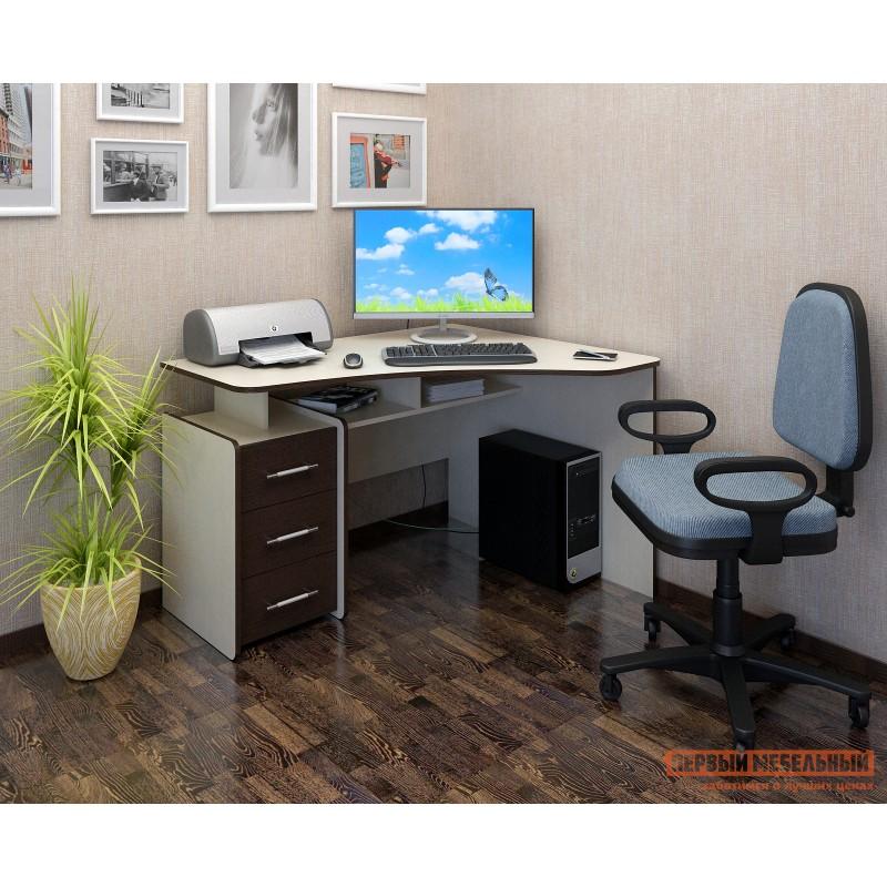 Компьютерный стол  Триан-5 Дуб Молочный / Венге, Правый (фото 2)