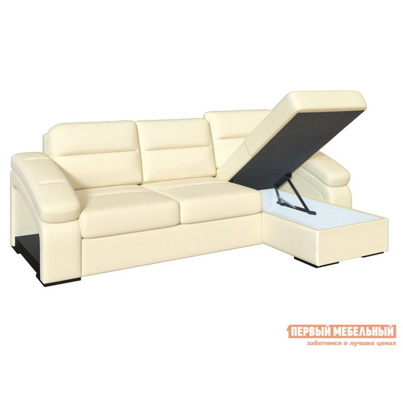 Угловой диван  Диван Рокси с оттоманкой Молочный, экокожа (фото 2)