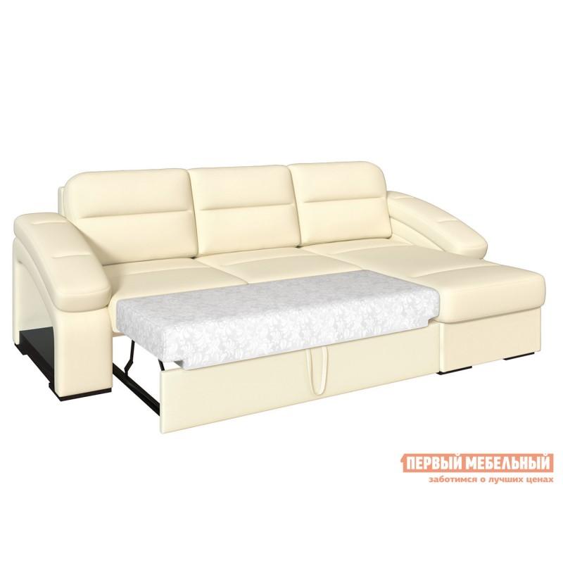 Угловой диван  Диван Рокси с оттоманкой Молочный, экокожа (фото 3)