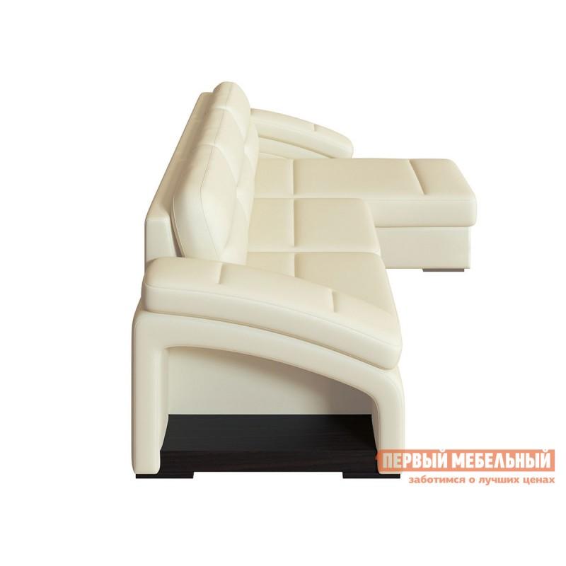 Угловой диван  Диван Рокси с оттоманкой Молочный, экокожа (фото 4)
