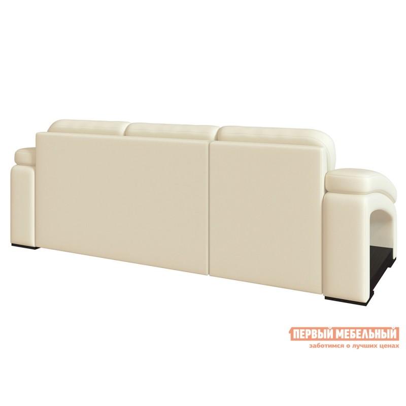 Угловой диван  Диван Рокси с оттоманкой Молочный, экокожа (фото 5)