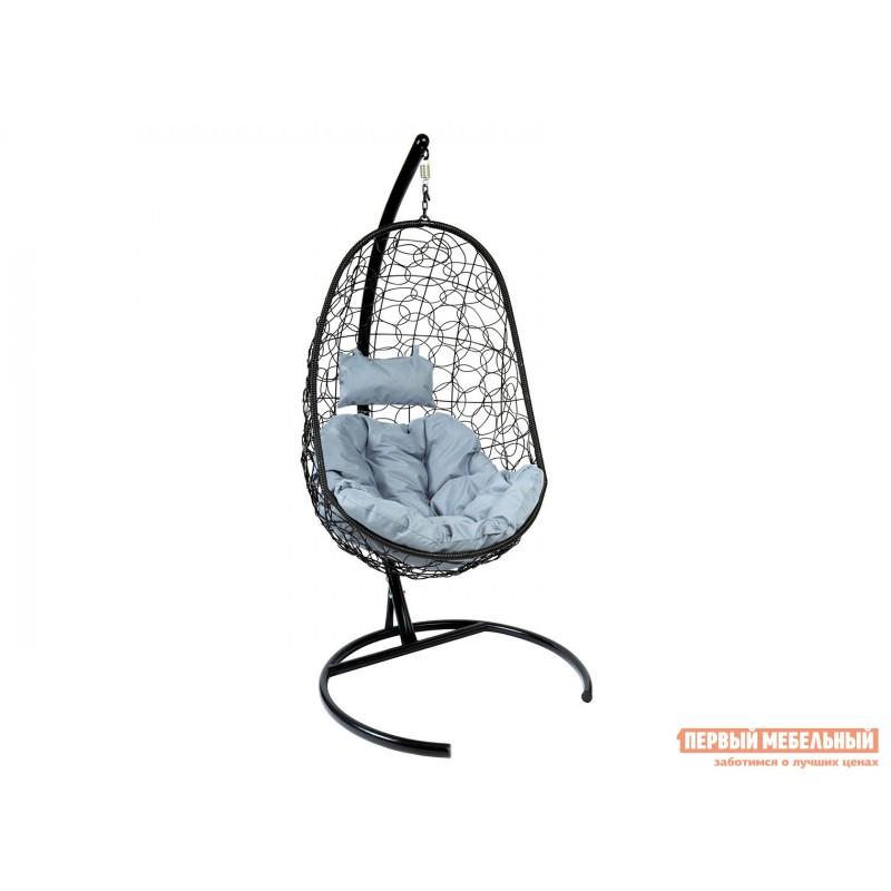 Подвесное кресло  Подвесное кресло Z-02 Черный, ротанг / Серый, ткань