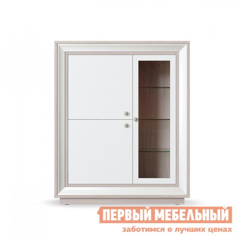 Шкаф-витрина  Шкаф 3-х дверный низкий (1 стеклодверь) Прато Корпус Ясень Шимо светлый, фасад Жемчуг, багет Жемчуг, Без подсветки