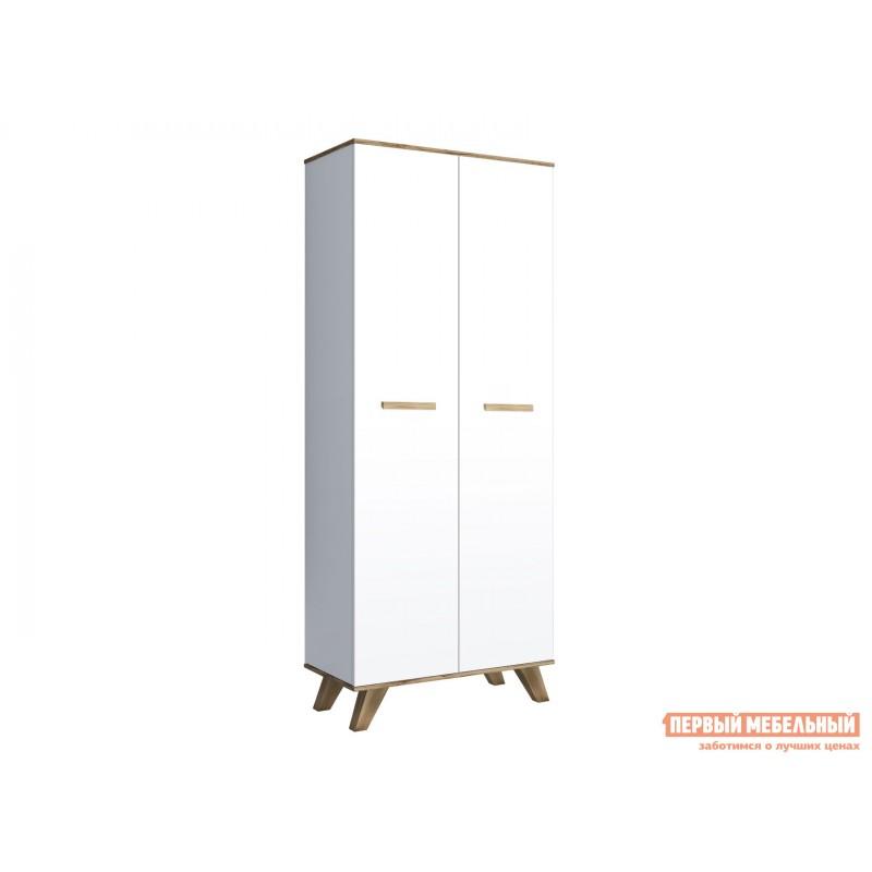 Распашной шкаф  Шкаф для одежды 800 Вега Скандинавия Дуб каньон / Белый глянец