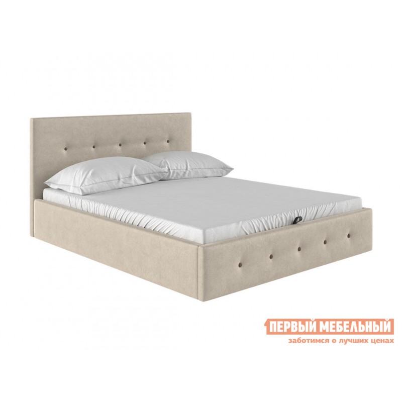 Двуспальная кровать  Колумбия ПМ Кремовый / Коричневый велюр, 1800 Х 2000 мм