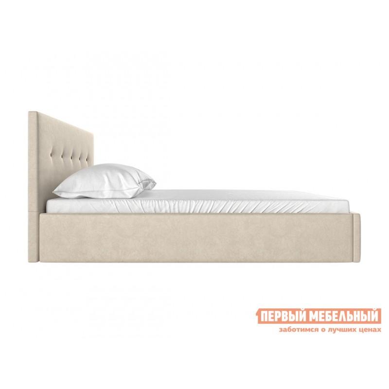 Двуспальная кровать  Колумбия ПМ Кремовый / Коричневый велюр, 1800 Х 2000 мм (фото 3)
