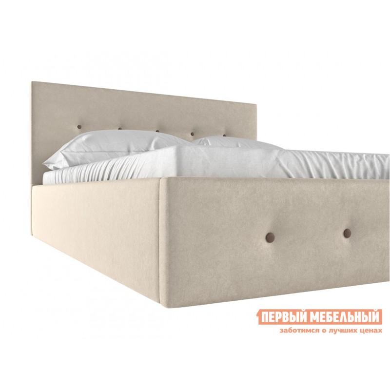 Двуспальная кровать  Колумбия ПМ Кремовый / Коричневый велюр, 1800 Х 2000 мм (фото 4)