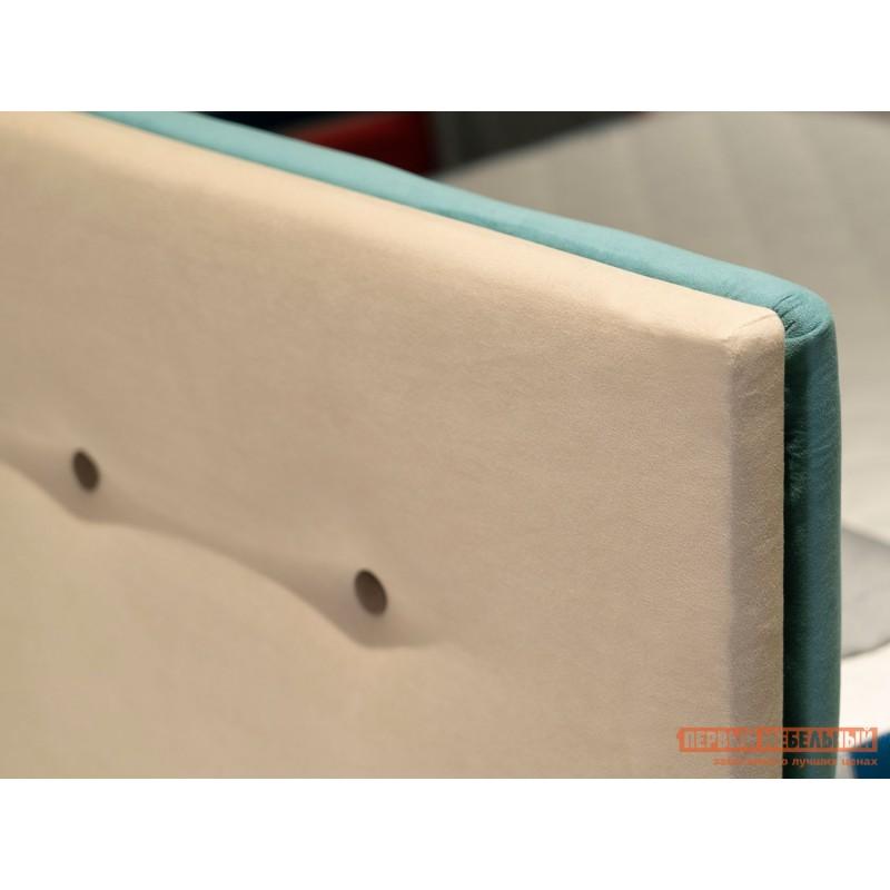 Двуспальная кровать  Колумбия ПМ Кремовый / Коричневый велюр, 1800 Х 2000 мм (фото 7)